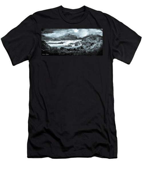 Men's T-Shirt (Slim Fit) featuring the photograph The Falls In Black And White by Andrew Matwijec