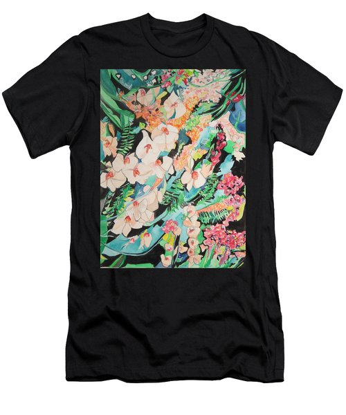 Men's T-Shirt (Athletic Fit) featuring the painting The Gallery Of Orchids 2 by Esther Newman-Cohen