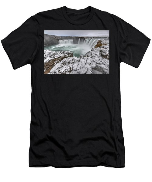 The Godafoss Falls In Winter Men's T-Shirt (Athletic Fit)