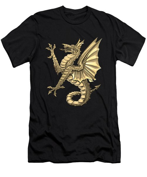 The Great Dragon Spirits - Gold Sea Dragon Over Black Canvas Men's T-Shirt (Athletic Fit)