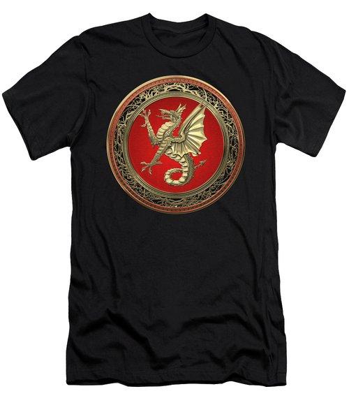 The Great Dragon Spirits - Gold Sea Dragon Over Black Velvet Men's T-Shirt (Athletic Fit)