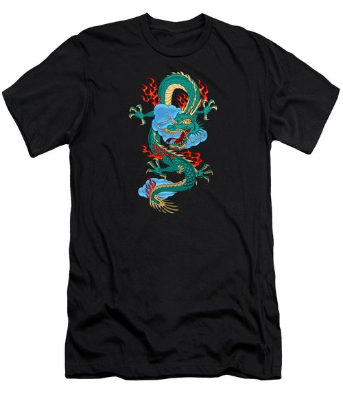 The Great Dragon Spirits - Turquoise Dragon On Black Silk Men's T-Shirt (Athletic Fit)
