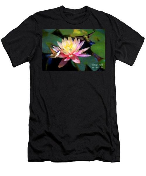 The Grutas Water Lillie With Hummingbirds Men's T-Shirt (Slim Fit) by John Kolenberg