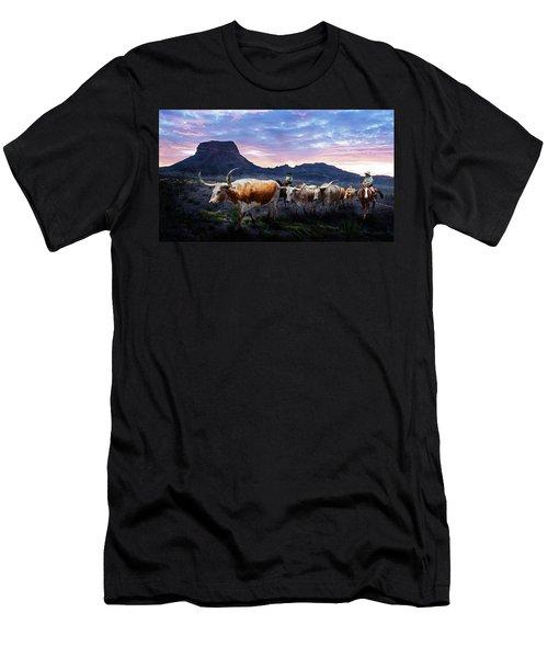 Texas Longhorns Blue Men's T-Shirt (Athletic Fit)