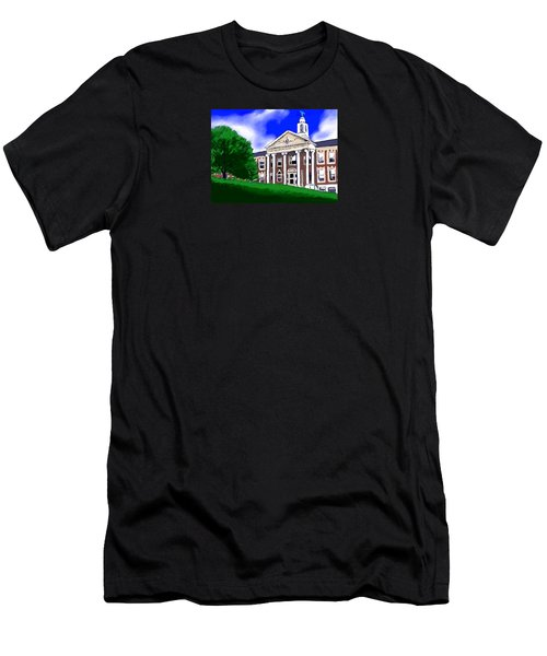 Men's T-Shirt (Slim Fit) featuring the painting The Hill by Jean Pacheco Ravinski