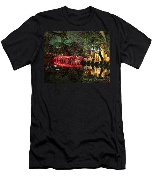 The Huc Bridge Night Hanoi Men's T-Shirt (Athletic Fit)