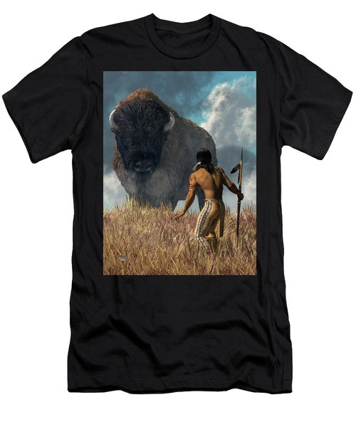 The Hunter And The Buffalo Men's T-Shirt (Athletic Fit)