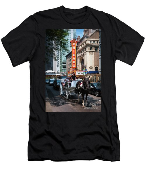 The Iconic Chicago Theater Sign And Traffic On State Street Men's T-Shirt (Athletic Fit)