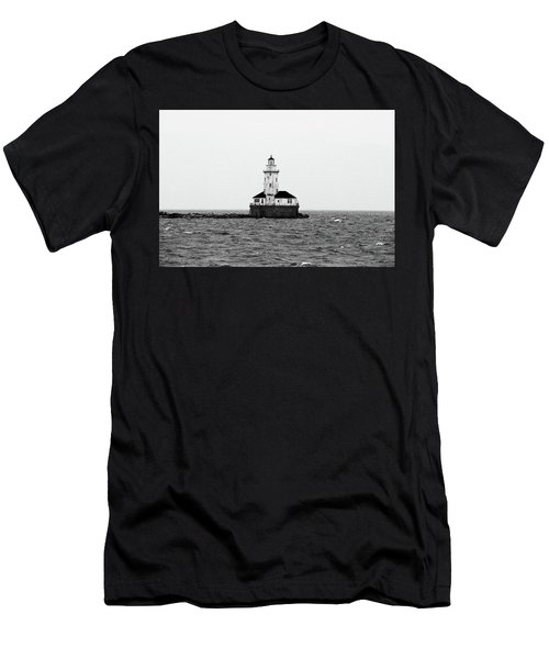 The Lighthouse Black And White Men's T-Shirt (Athletic Fit)