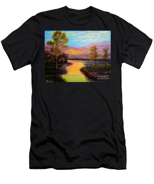 The Liquid Fire Of A Painted Golden Sunset Men's T-Shirt (Athletic Fit)