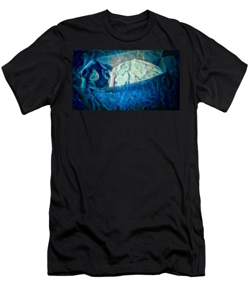 Men's T-Shirt (Slim Fit) featuring the digital art The Little Prince Floating In Box On A Sea Of Dreams With Chaotic Swirls And Waves Of Thought Hope Love And Freedom Portrait Of A Boy Sleeping In A Cardboard Box On An Ocean Of Inspiration by MendyZ