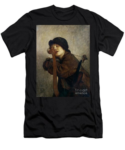 The Little Violinist Sleeping Men's T-Shirt (Athletic Fit)