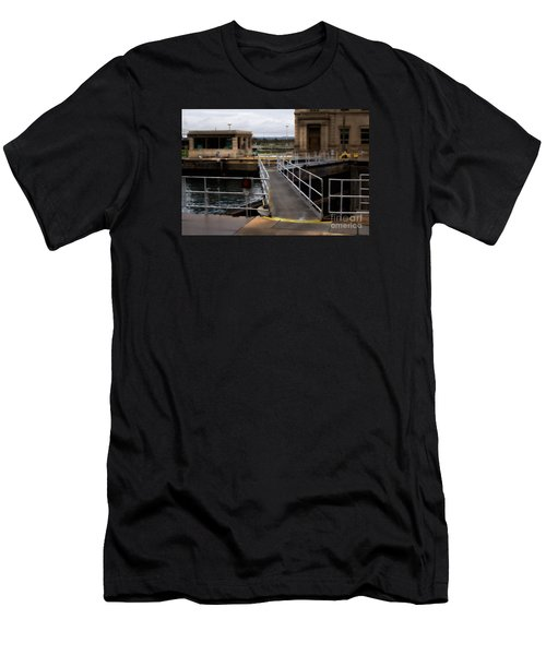 Men's T-Shirt (Slim Fit) featuring the digital art The Locks At Sault Ste Marie Michigan by David Blank