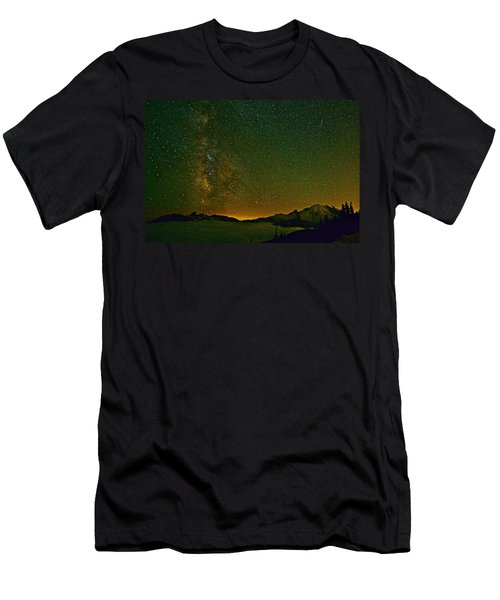 The Milky Way And Mt. Rainier Men's T-Shirt (Athletic Fit)