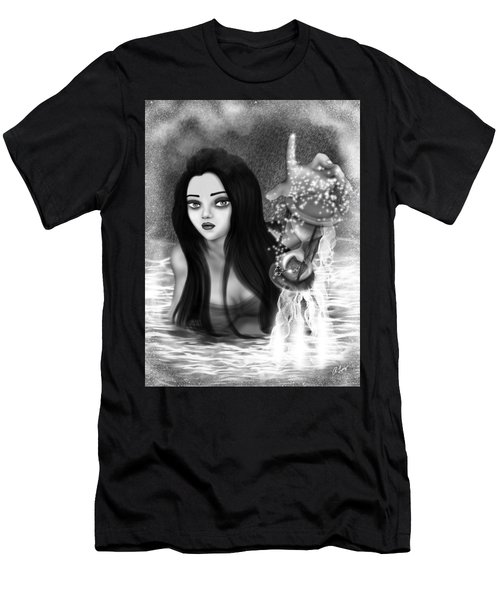 The Missing Key - Black And White Fantasy Art Men's T-Shirt (Athletic Fit)