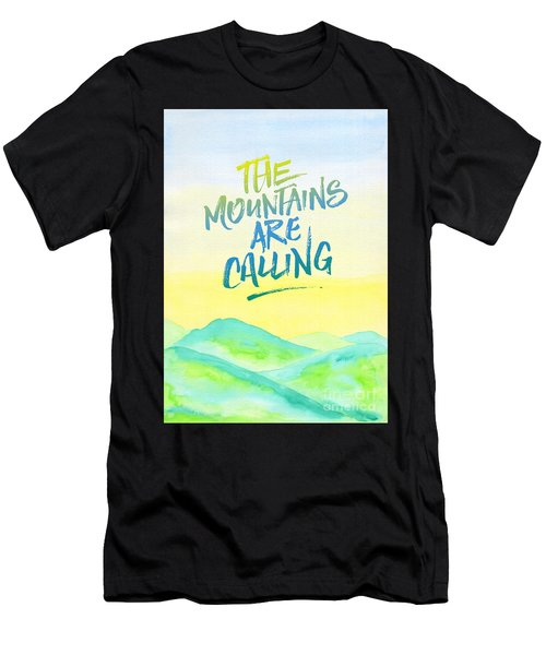The Mountains Are Calling Yellow Blue Sky Watercolor Painting Men's T-Shirt (Athletic Fit)