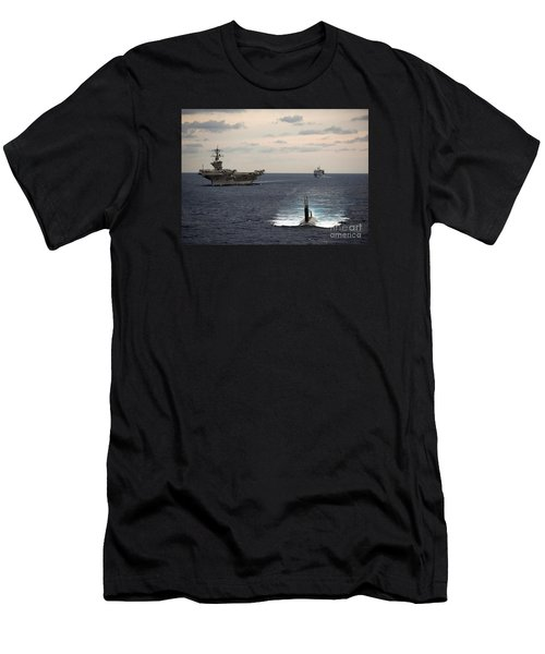 The Nimitz-class Aircraft Carrier Uss Carl Vinson And A Submarine Men's T-Shirt (Athletic Fit)