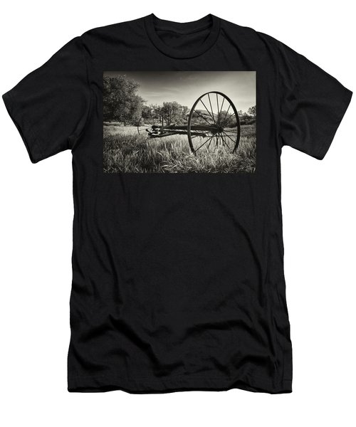 The Old Mower 2 In Black And White Men's T-Shirt (Athletic Fit)
