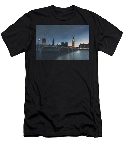 The Palace Of Westminster London Oil On Canvas Men's T-Shirt (Athletic Fit)