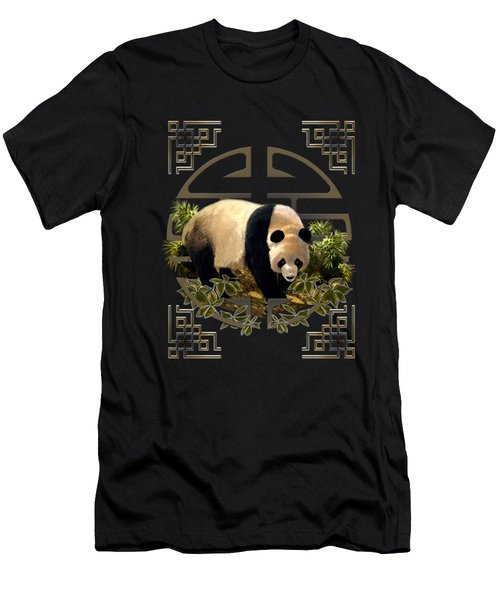 The Panda Bear And The Great Wall Of China Men's T-Shirt (Athletic Fit)