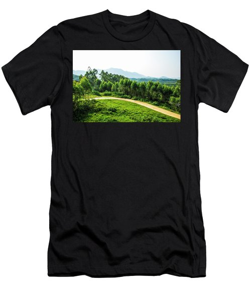 Men's T-Shirt (Athletic Fit) featuring the photograph The Path In The Mountain by Carl Ning