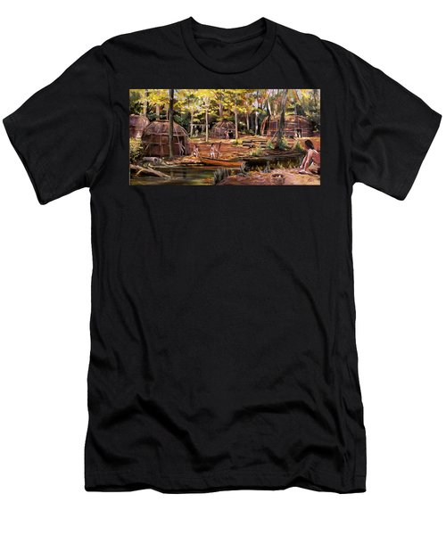 Men's T-Shirt (Slim Fit) featuring the painting The Pequots by Nancy Griswold