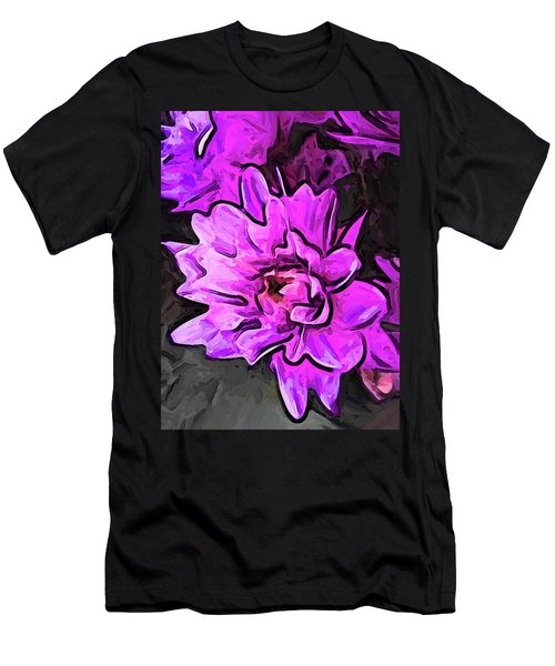 The Pink And Lavender Flowers On The Grey Surface Men's T-Shirt (Athletic Fit)