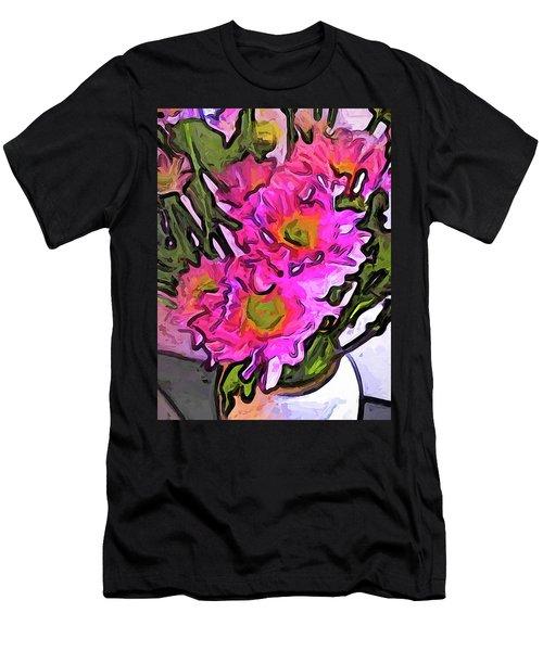 The Pink Flowers In The White Vase Men's T-Shirt (Athletic Fit)