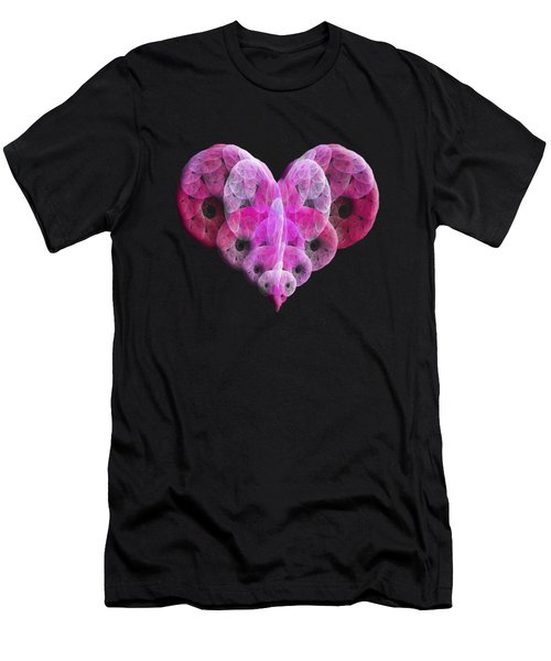 Men's T-Shirt (Slim Fit) featuring the digital art The Pink Heart by Andee Design