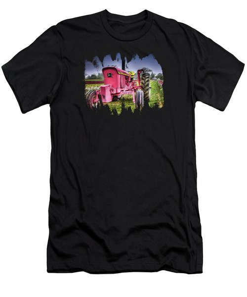 Men's T-Shirt (Slim Fit) featuring the photograph The Pink Tractor At The Wooden Shoe Tulip Farm by Thom Zehrfeld