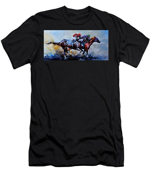 Men's T-Shirt (Athletic Fit) featuring the painting The Preakness Stakes by Hanne Lore Koehler