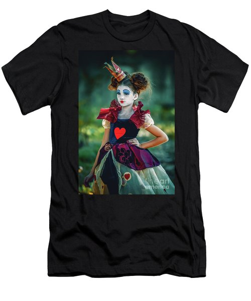 Men's T-Shirt (Athletic Fit) featuring the photograph The Queen Of Hearts Alice In Wonderland by Dimitar Hristov