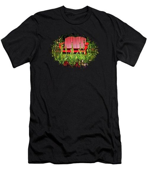 The Red Garden Bench Men's T-Shirt (Slim Fit) by Thom Zehrfeld