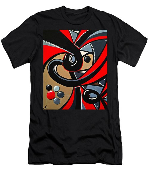 Red And Black Abstract Art Painting Men's T-Shirt (Athletic Fit)