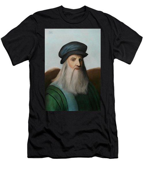 The Master Of Renaissance - Leonardo Da Vinci  Men's T-Shirt (Slim Fit) by Vishvesh Tadsare