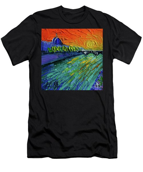 The Rhone River Palette Knife Oil Painting By Mona Edulesco Men's T-Shirt (Athletic Fit)
