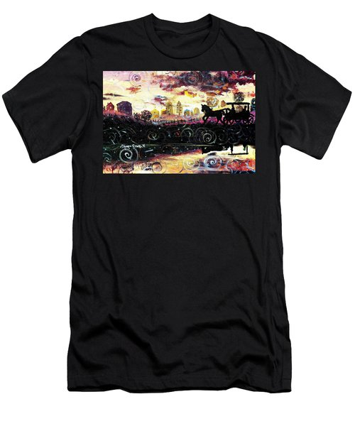Men's T-Shirt (Slim Fit) featuring the painting The Road To Home by Shana Rowe Jackson