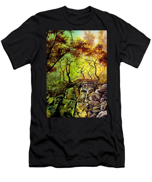 Men's T-Shirt (Slim Fit) featuring the painting The Rocks In Starachowice by Henryk Gorecki