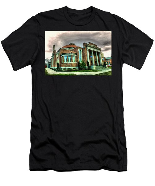 Men's T-Shirt (Slim Fit) featuring the photograph The Seasons Performance Hall  by Jeff Swan