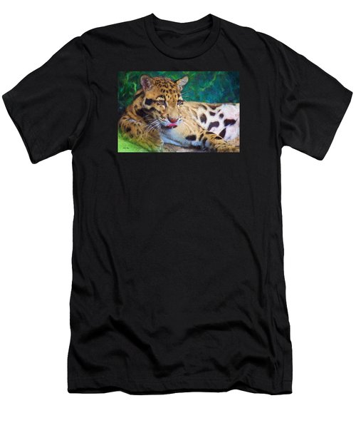 Men's T-Shirt (Slim Fit) featuring the painting The Clouded Leopard by Judy Kay