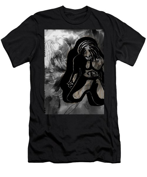 Men's T-Shirt (Slim Fit) featuring the drawing The Struggle Within by Sheila Mcdonald
