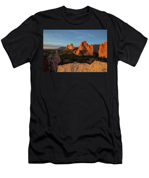 The Sun Illuminates The Red Rock Formation At The Garden Of The  Men's T-Shirt (Athletic Fit)