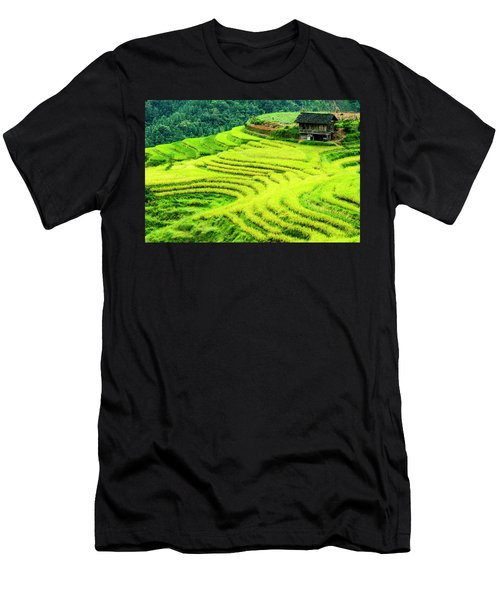 Men's T-Shirt (Athletic Fit) featuring the photograph The Terraced Fields Scenery In Autumn by Carl Ning