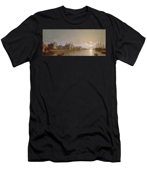 The Thames By Moonlight With Traitors' Gate And The Tower Of London Men's T-Shirt (Athletic Fit)