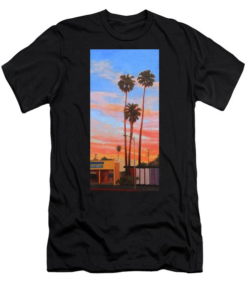 Men's T-Shirt (Slim Fit) featuring the painting The Three Palms by Andrew Danielsen