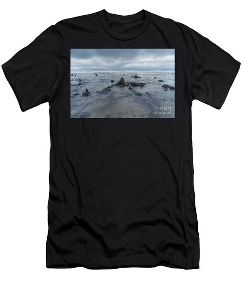 The Tide Comes In Over The Bronze Age Sunken Forest At Borth On The West Wales Coast Uk Men's T-Shirt (Athletic Fit)