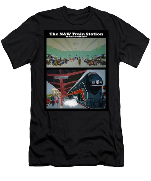 The Train Station At Portsmouth Ohio Men's T-Shirt (Slim Fit) by Frank Hunter