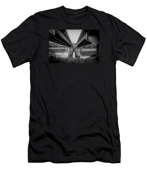 Men's T-Shirt (Slim Fit) featuring the photograph The Underside Of Two Bridges Symmetry In Black And White by Kelly Hazel