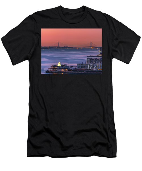 Men's T-Shirt (Athletic Fit) featuring the photograph The Verrazano Bridge At Sunrise by Francisco Gomez