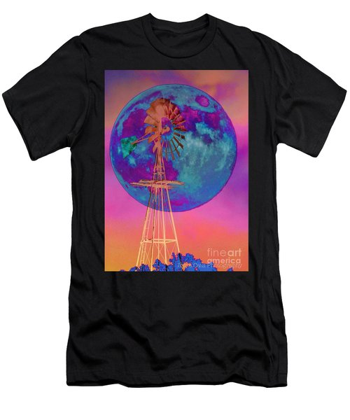 The Windmill And Moon In A Sherbet Sky Men's T-Shirt (Athletic Fit)